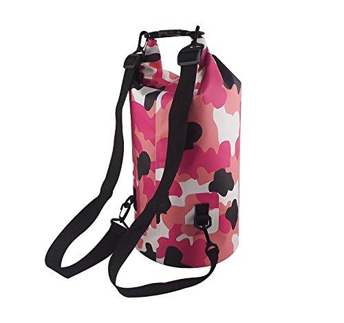 Sport und Outdoor Trockentasche Dry Bag Wasserdichter Sack Wasserfester Packsack Trockenbeutel zum Bootfahren Wandern Kajaken Kanufahren Schwimmen Snowboarden mit wasserdichter Handyhülle, Rosa 30L