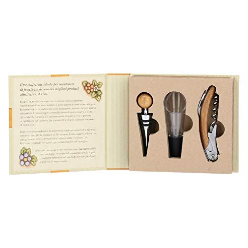 Thun ® - set vino - linea country - con mini decanter istantaneo, apribottiglia e tappo