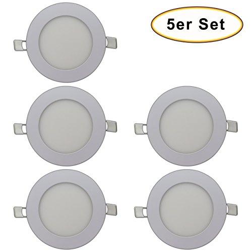 Preisvergleich Produktbild 5er Set - LED Einbaustrahler Panel - 6 Watt Milchglas matt rund / kreis weiß inkl. Trafo - Lichtfarbe: warmweiß