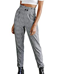 Zarup♥♥♥Botón de Moda para Mujer Cintura Alta Raya Estampado de Moda  Pantalones 0ba09ec0aaff