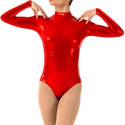 Mxssi Damen Wetlook Body Turnanzug Gymnastikanzug Trikot Leotard Ballettanzug Langarm Ballett Tanz Body Gymnastik Training Wettkampf Gymnastikbody Body Trikot Ballettoutfit Kostüm - Langarm-gymnastik-trikots