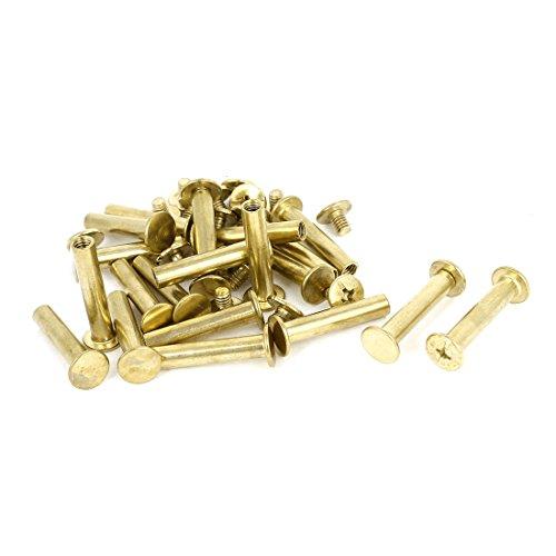 Scrapbook Leder 5x 25mm Messing vergoldet Bindung Chicago Schraube Post 20Stück