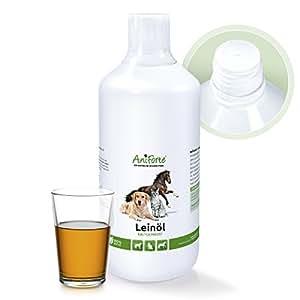 AniForte kaltgepresstes Leinöl 1 Liter- Naturprodukt für Hunde, Katzen & Pferde