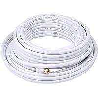 Monoprice Quad 104061 1524 cm RG6 18AWG 75 Ohm Shield CL2 con conector de Cable Coaxial tipo F - de color blanco