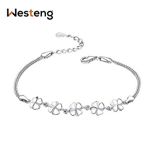 Westeng braccialetto da donna in argento placcato con charm floreale