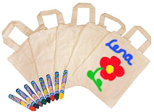 10x Tragetaschen, natur, zum selbst gestalten + 16 Textilmalstifte, auch als Mitgebseltüten zum Kindergeburtstag