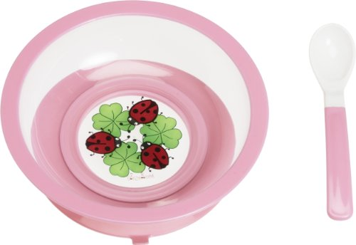 Playshoes Bowl and Spoon Set with Suction Base (Pink)