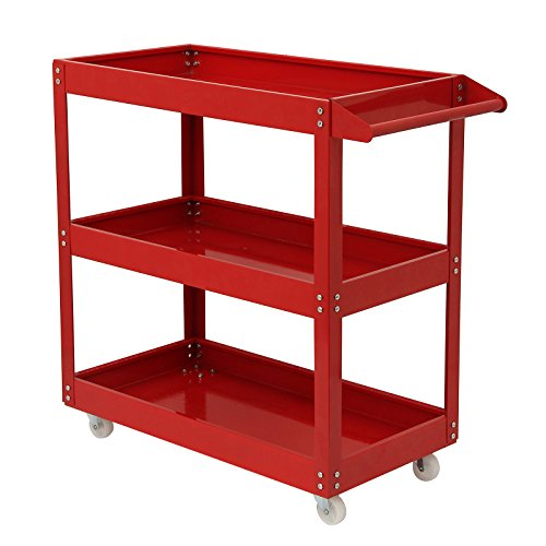 AllRight 3 Tier Shelf Tool Cart Storage Wheel Cart Trolley Heavy Duty Garage Workshop DIY Tool 450lb Red Test
