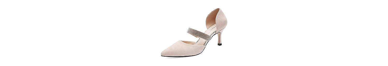 KPHY Verano Sandalias Zapatos De Mujer Baotou Hebillas Medio Tacón Salvaje Verano Pointy 7 Cm Zapatos De Tacon... -