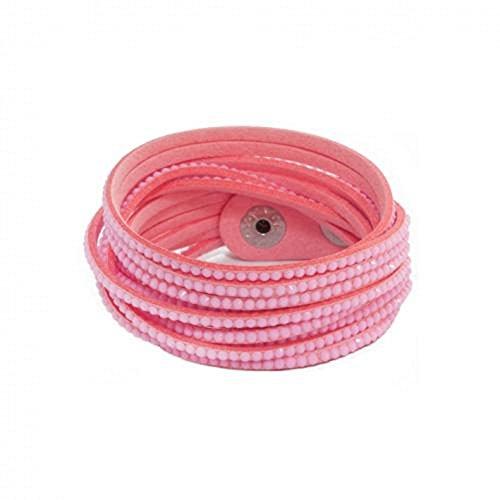 Bracelet Wrap Manchette Suédine 1.7cm 2 tours - 6 rangs Strass Couleur au choix Rose