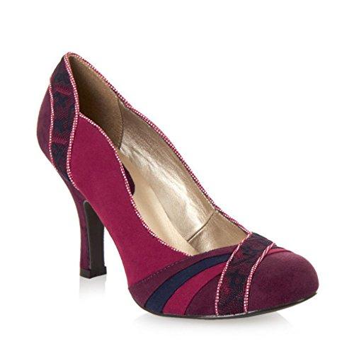Ruby Shoo Heather Chaussures et Sydney Sac bleu Panneau en simili daim Cour Bleu/Rouge Rouge - rouge