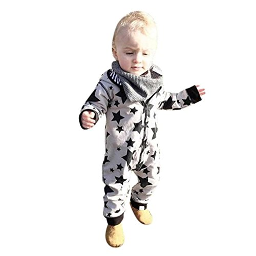 Baby Kleidung, QinMM Neugeborenes Baby Junge Mädchen Kapuze Overall Kleidung 0 -24 Monate (12-18M, Grau) (Baby-jungen Overall)