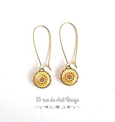 boucles d'oreilles dorées, à cabochon de verre, inspiration Maroc, Soleil, jaune