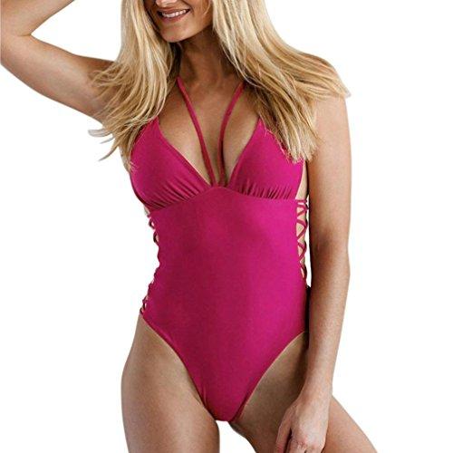 Hmeng Damen Einteiliger Badeanzug Schwimmanzug Monokini Gepolsterter Padded Bikini Bandage Bademode (S, Pink) (Spandex-zwei Stück 18%)
