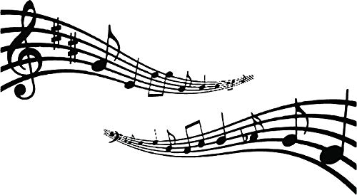 Musical Notes Wall Sticker Art Musical Music Instrument décor 60cm x 109cm by Kult Kanvas