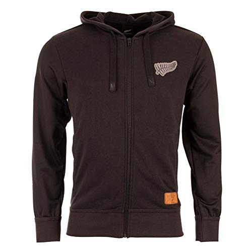 New Zealand All Blacks 16th Man Hooded Rugby Sweat - Size Medium 38-40&Quot; Chest Full Zip Rugby