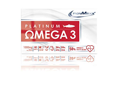 IronMaxx Platinum Omega 3 Kapseln – 1000mg Omega 3 Fischöl-Kapseln, hochdosiert – 1 x 60 Kapseln - 4