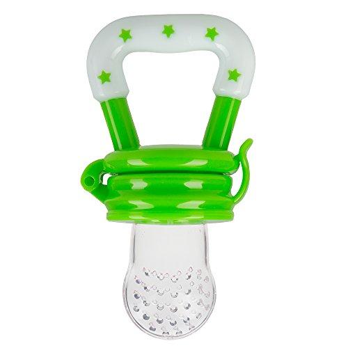 Preisvergleich Produktbild Fruchtsauger Schnuller für Obst und Gemüse in verschiedenen Farben mit GRATIS GESCHENKTASCHE für Babys (Grün)