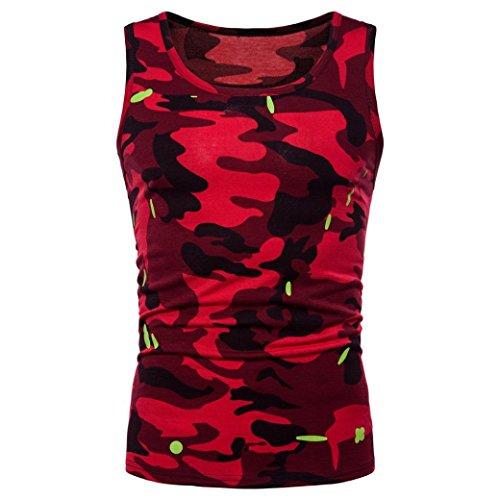 UFACE Männer Camo Sleeveless Printed Tank Top O Hals Sleeveless T-Shirt Top Weste Bluse (M, Rot)