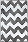 Carpeto Rugs Designer Teppich Zick Zack Modern Muster 100% Viskose Schwarz Weiß 80 x 150 cm S