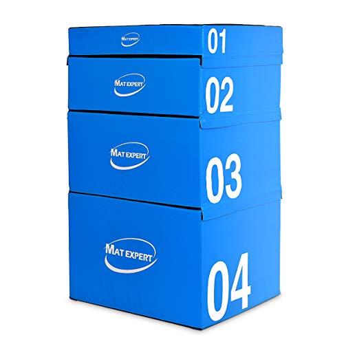 COSTWAY Soft Jump Box Stapelbar, Sprungkasten aus PVC, Plyo Box gepolstert, Sprungbox mit Klettverschlüssen, Jump Box Set Farbwahl, Sprungtrainer für plyometrisches Training 90 x 75 x 30cm (Blau)