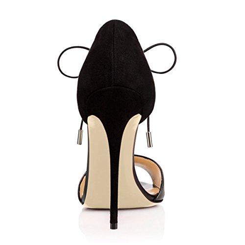 Onlymaker Damenschuhe High Heels Frei Toe Sandale mit Schnuersenkel Schwarz