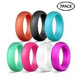 Leegoal Silikon Hochzeit Ring 7Stück für Damen/Herren, Hochzeit Band Verschiedenen Farben für Sport, Fitnessstudio, im Freien 5,7mm, 6