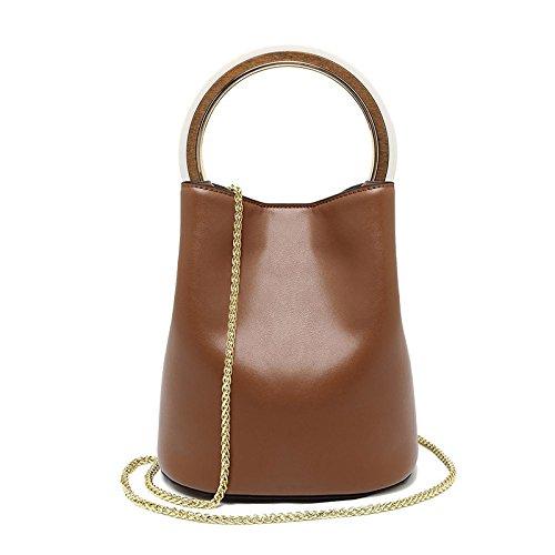 Mefly Neue Handtaschen Aus Leder Fashion Trends Temperament Kette Ring Leder Brown