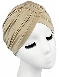 QHGstore El abrigo de pelo de color de Soild de las mujeres cubre encima de sombreros indios del turbante Casquillos de Modal Caqui