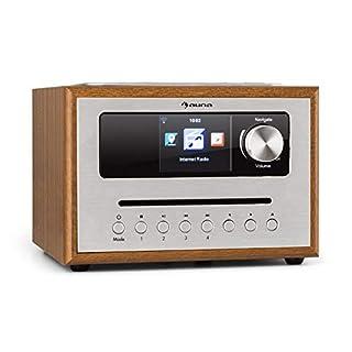 auna Silver Star CD Cube Radio • WLAN-Radio mit CD-Player • Micro-Anlage • UKW-Tuner • Bluetooth • 10 Watt RMS • 2,8