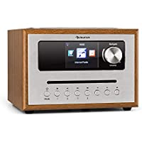 """auna Silver Star CD Cube Radio • WLAN-Radio mit CD-Player • Micro-Anlage • UKW-Tuner • Bluetooth • 10 Watt RMS • 2,8"""" HCC Display • AUX-In • App-Steuerung • Holzoptik • inkl. Fernbedienung • braun"""