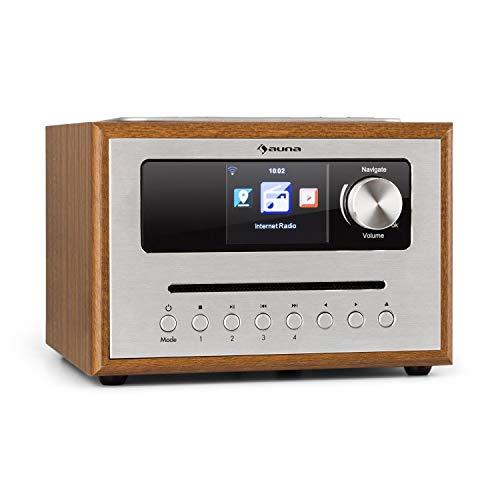 """auna Silver Star CD Cube Radio • WLAN-Radio mit CD-Player • Micro-Anlage • UKW-Tuner • Bluetooth • 10 Watt RMS • 2,8\"""" HCC Display • AUX-In • App-Steuerung • Holzoptik • inkl. Fernbedienung • braun"""