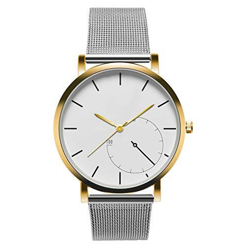 Gloaming Frauen-Weinlese-Edelstahl-Uhr, zufälliges Damen-Armbanduhr Artsy nicht numerisches unbedeutendes Armband