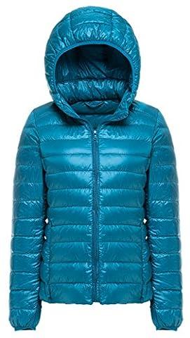 Sawadikaa Femme Ultra Légère Courte Doudoune Manches longues Parka Zippée Capuche Blouson D'hiver Veste en Duvet pour Bleu Ciel Large