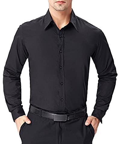 Men's Long Sleeve Designer Shirt Big and Tall Solid Black (L) JS01-1
