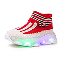 Sceoyche Kids LED Light Shoes, Baby Luminous Striped Mesh Sport Shoes Breathable Ultralight Socks Shoes Non-slip Walking Shoes Toddler Sneakers Running Shoes for Boys Girls