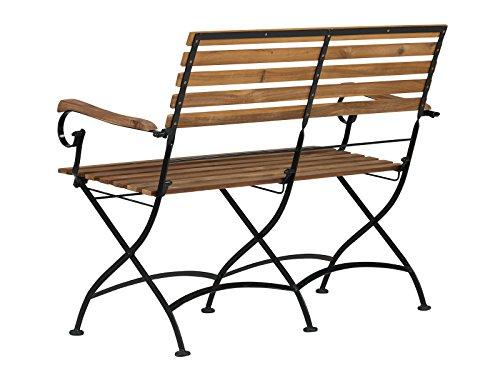 Massivum Sitzbank Seattle Akazie/Metall, schwarz / natur, 59 x 117 x 17, 10024123 - 7