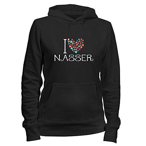 Idakoos I love Nasser colorful hearts - Male Names - Women Hoodie
