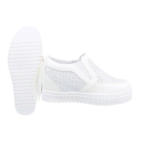 Sneakers Ital-design Scarpe Da Donna Alte Con Zeppa Alta / Zeppa Con Zeppa Scarpe Casual Bianche