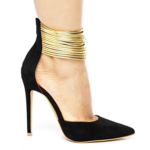Damen Pumps Fellsamt Spitze Zehen High-Heels Stiletto Gold Knöchelriemchen Reißverschluss Schwarz
