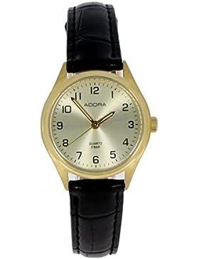Adora Damenuhr mit Lederband 1-20061X-001, Gehäusefarbe:gold, Ziffernblattfarbe:gold