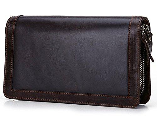 Doppel-brieftasche (Everdoss Herren Leder Geldbörse Brieftaschen viele Kartenfächer Geldbeutel mit Doppel Reißverschluss Unterarmtasche braun)