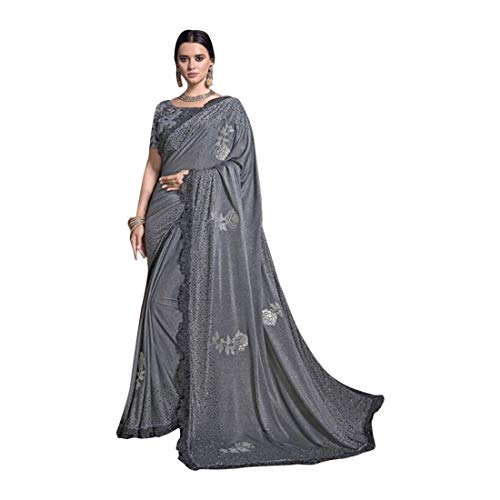 Sari-Bluse 8633 mit grauem Swarovski-Kristallen, indischer Stil, für Hochzeit, Party, Damen.