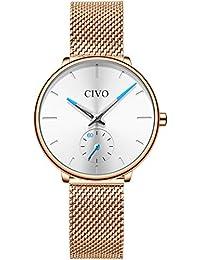 0a2f5f52fecc CIVO Relojes para Mujer Reloj Damas de Malla Impermeable Minimalista  Elegante Banda de Acero Inoxidable Lujo