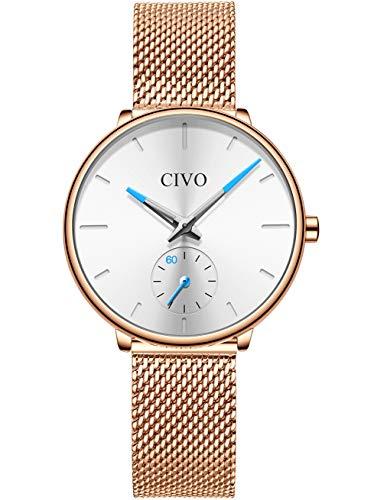 979e5c038fb0 Comprar al MEJOR PRECIO · CIVO Relojes Mujer Reloj Damas Malla Impermeable  Minimalista