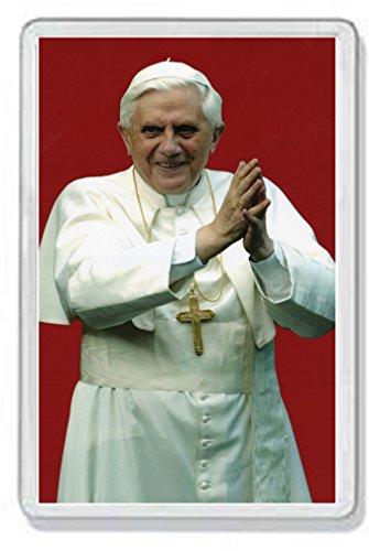 AWS Magnet Heiligenbild aus festem PVC, Papst Benedikt XVI., Souvenir Kühlschrankmagnet aus Hartplastik mit Bild von Joseph Ratzinger