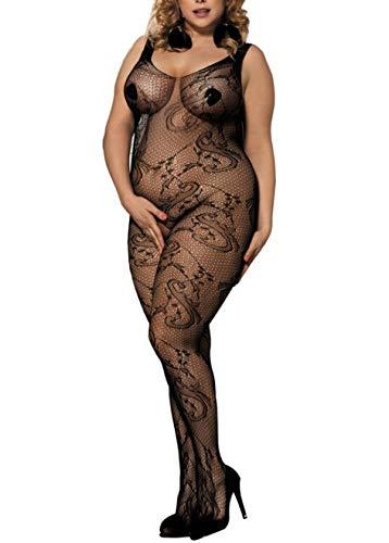 marysgift Spitze Catsuit, Einheitsgröße (EUR 40 42 44 46 48 50), schwarz, Dessous Damen Reizwäsche Negligees Bodystcoking