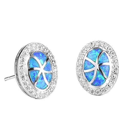 B&H-ERX Ohrringe Frauen 925 Sterlingsilber Opal Ohrring Schmuck der Mutter Tages Geburtstags-Geschenk-Ohrringe,Blau