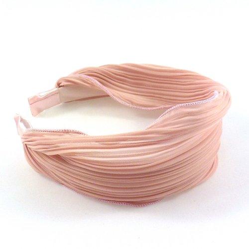 rougecaramel - Serre tête/headband/ large plissé façon bandeau - rose poudré