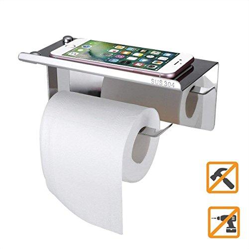 Aothpher Toilettenpapierhalter ohne Bohren, Patentierter Kleber + Selbstklebender 3M-Kleber, Edelstahl, Chrom Finish - Moderne Chrom-finish